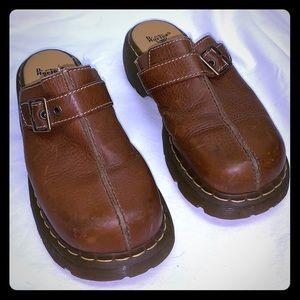 Doc Martens pebble brown leather platform clogs 9